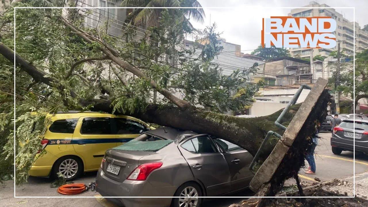 Ventania derruba árvores e fecha vias no Rio