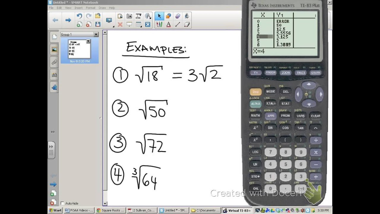 Simplifying radicals using a TI 83 YouTube – Simplest Radical Form Worksheet