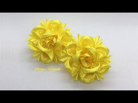 Украшение на резинку Канзаши / Жёлтые цветочки