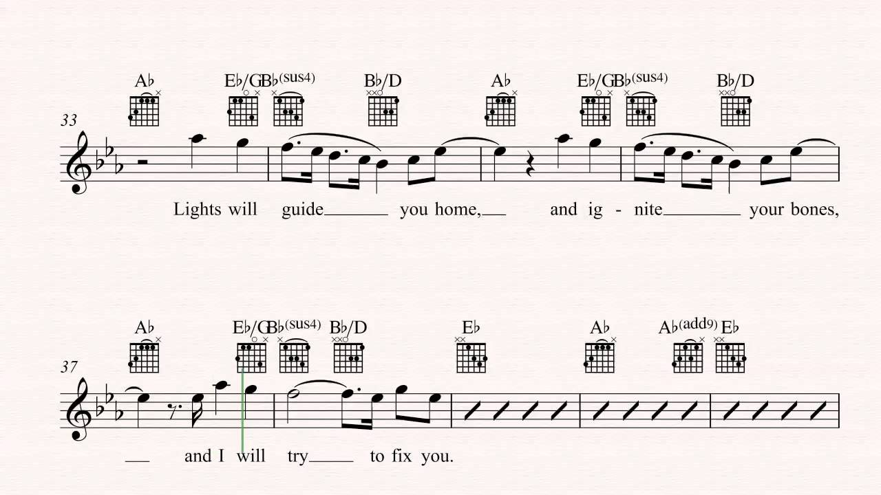 Guitar Fix You Coldplay Sheet Music Chords Vocals Youtube