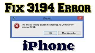 iTunes error 3194 fix for Window 10 and MAC computer There are two ways to fix iTunes error 3194, on.