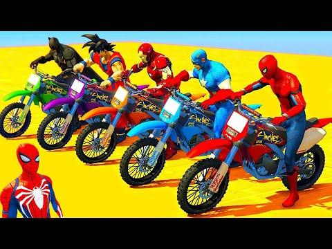 HOMEM ARANHA, CRAZY JAKE, BATMAN com SUPER MOTOS e HERÓIS! Desafio Spiderman Jump HULK ARMY - GTA V