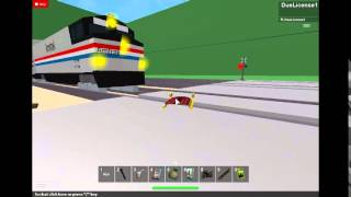 ROBLOX Railfanning-Amtrak Crushes Sled!