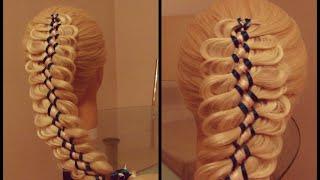 Коса с тремя лентами  3+5. Видео-урок.