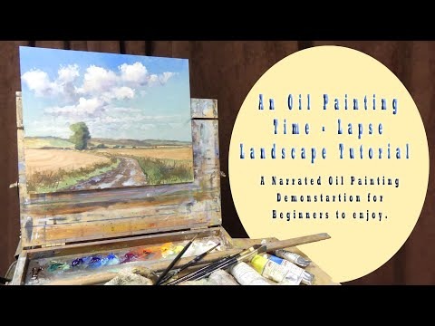 An oil painting time - lapse tutorial - A landscape art demonstration for beginners in oil. thumbnail