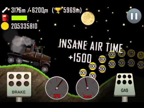 hill climb racing night 7599 meters with truck new. Black Bedroom Furniture Sets. Home Design Ideas