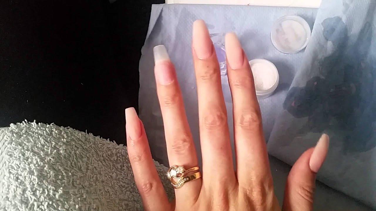 Acrylic nails:coffin shape - YouTube