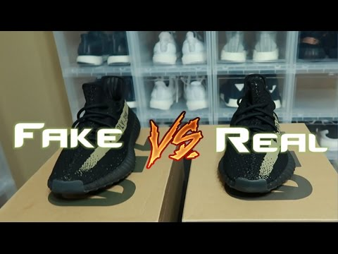 75241fe037709 Yeezy 350 V2 Green Fake Vs Real Comparison Legit Check - YouTube