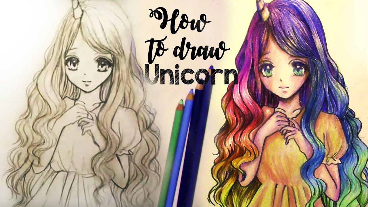 How to draw and color unicorn girl rainbow hair