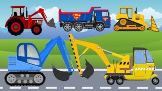 Mini Excavator, Bulldozer with Dumper and Street Vehicles with cab. Koparki z kabiną Film dla Dzie