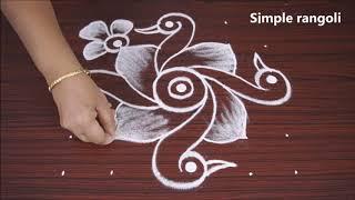 Simple and easy birds rangoli with 6 dots | Kolam for friday | creative birds muggulu