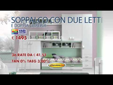 Cameretta Soppalco Mercatone Uno.Cameretta Soppalco Con Due Letti E Doppia Libreria Youtube