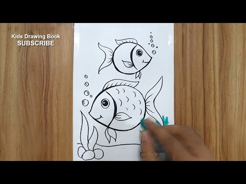 How To Draw Underwater Fish Scenery Step By Step With Oil Pastels