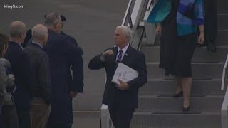 VP Mike Pence greets Governor Inslee with an elbow bump instead of a handshake