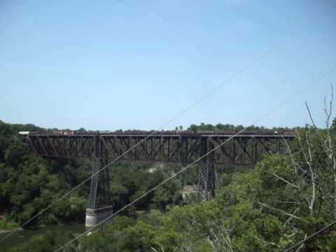 NS Manifest Freight Crossing Kentucky High Bridge in August 2012...