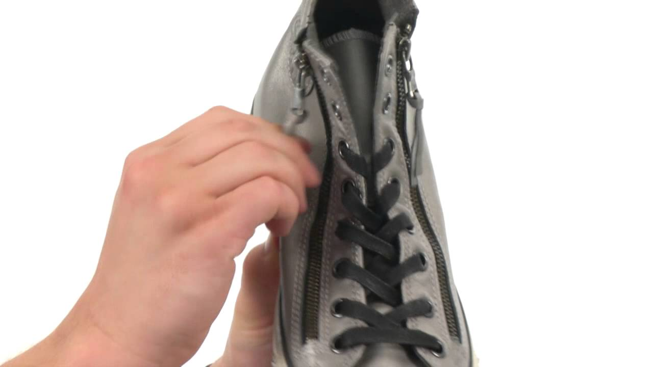 Converse by John Varvatos Chuck Taylor All Star Double Zip Silver Brushed Leather SKU:8472890