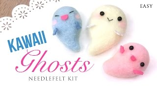 DIY Halloween Kawaii Ghost Needlefelt Kit - ASMR Crafting