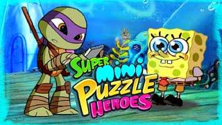 super mini puzzle heroes gameplay episode   spongebob ninja turtles power rangers play the game