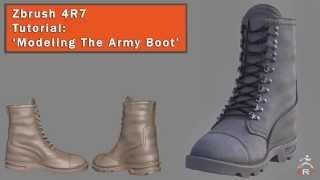 Zbrush 4R7 Tutorial - Modeling the Army Boot