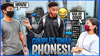 Making Couples Switch Phones Loyalty Test 💔 Public Interview! ( GONE CRAZY )