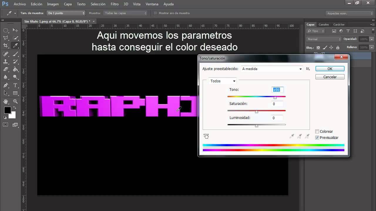 Como Cambiar de Color Texto o Imagen en Photoshop | 2012