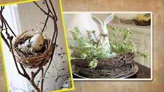 Easter decorating ideas Spring Decor with Nests and Birdhouses   Bird Nest Easter Decor