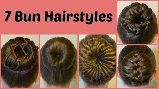 7 Ways To Make A Bun Using A Hair Donut Compilation 1 Week Of Bun Hairstyles Youtube