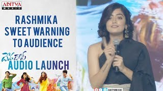 Rashmika Sweet Warning To Audience @ Devadas Audio Launch || Akkineni Nagarjuna, Nani