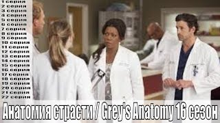 Анатомия страсти / Grey's Anatomy 16 сезон 1,2,3,4,5,6,7,8,9,10,11,12,13,14-22 серия / сюжет, анонс