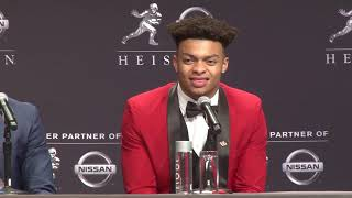 Joe burrow, justin fields, jalen hurts and chase young take the podium one last time before heading off to playstation theatre for 2019 heisman cerem...