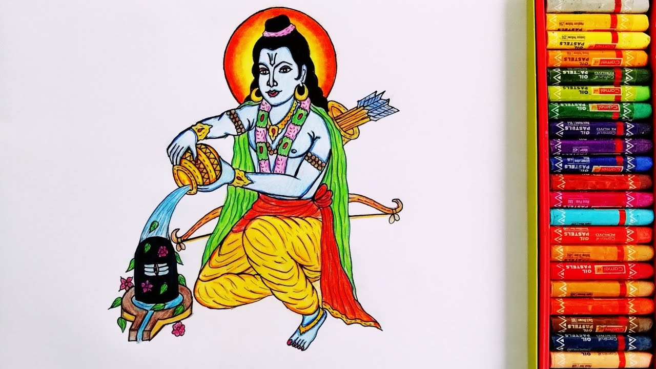 Time-lapse Painting Of Lord Ram and Shiv Ji   Drawing Of Lord Shiv Ji And Lord Shri Ram   DrawingArt