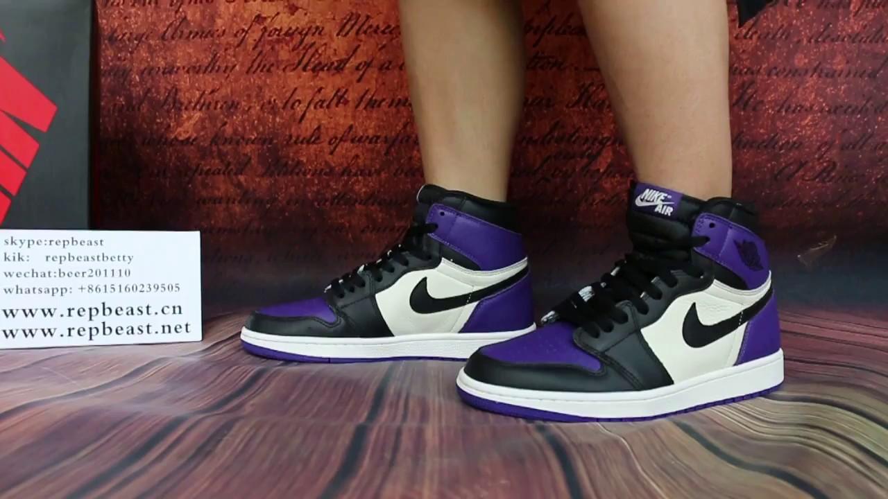 """on sale 9f92f c079f Air Jordan 1 """"Court Purple""""on feet - YouTube"""