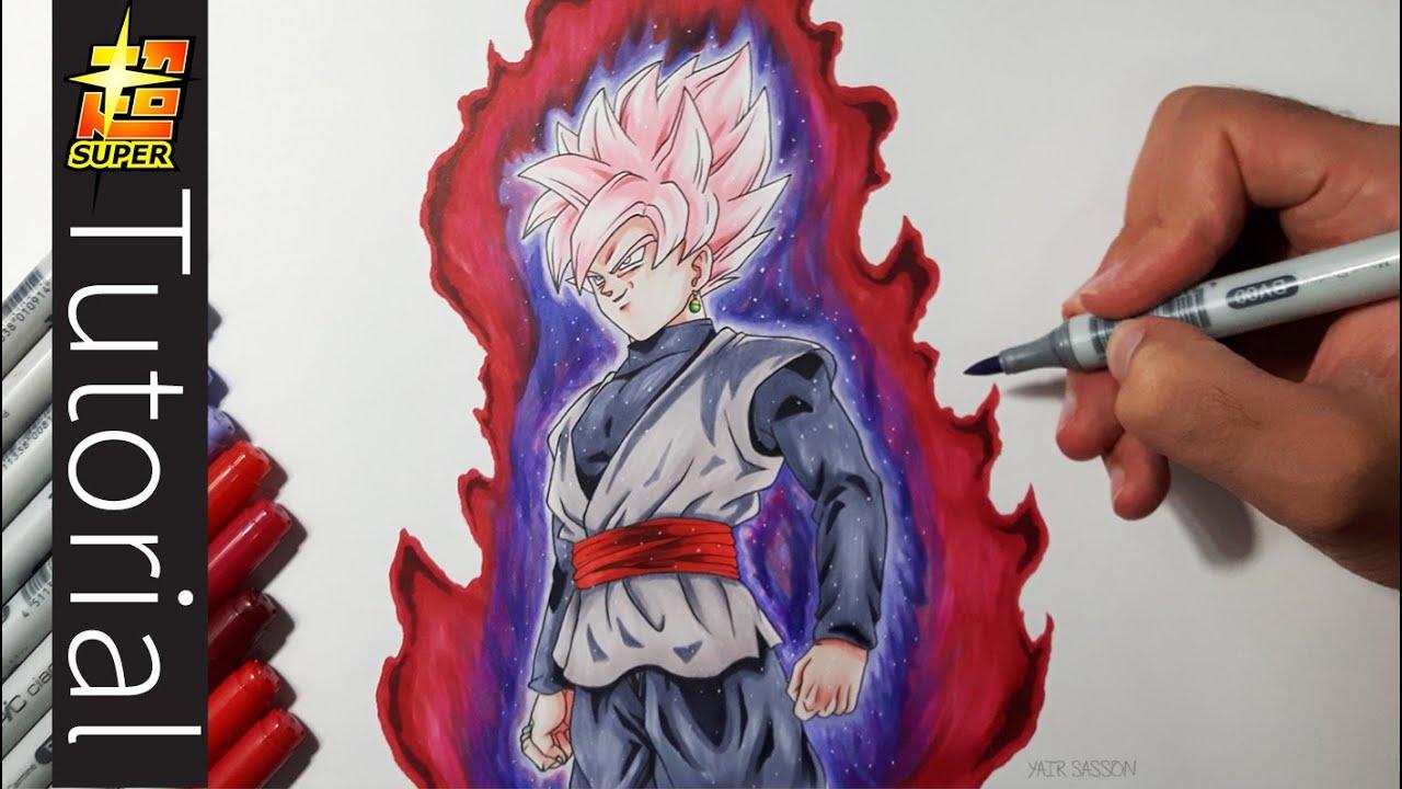 How To Draw Goku Black SUPER SAIYAN ROSE Tutorial YouTube