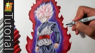 How To Draw Goku Black SUPER SAIYAN ROSE  - Tutorial