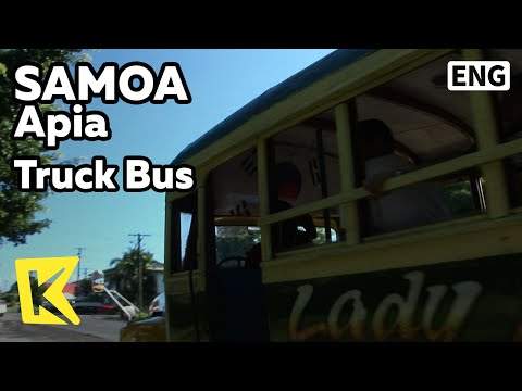 【K】Samoa Travel-Apia[사모아 여행-아피아]태극기 달린 트럭 버스/Truck Bus/Korean flag/Music
