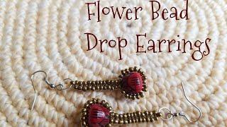 🌺🌸 Flower bead Drop earrings 🌺🌸 Herringbone stitch earrings DIY 🌺🌸 (0098)