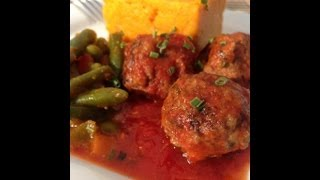 Beef And Lamb Meatballs, Mashed Sweet Potatoes & Veggie Curry