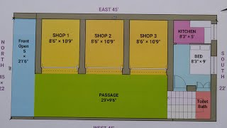22 × 45 North west face house shop plan