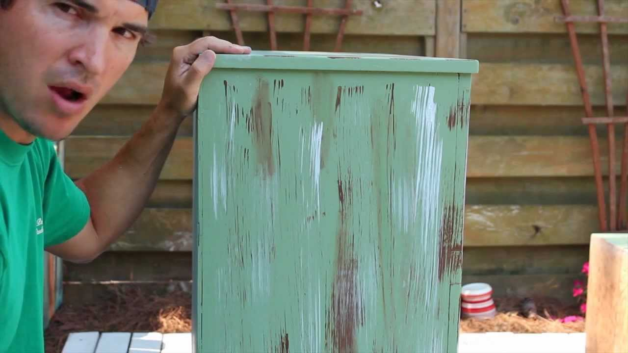 How To Paint Distress Antique Furniture Project 1 Painted Green Refinished And Distressed Youtube