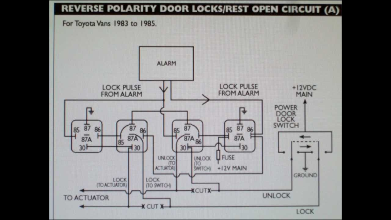 maxresdefault how to wire 5 wire reversing polarity door locks in early toyota 5 wire door lock relay diagram at nearapp.co