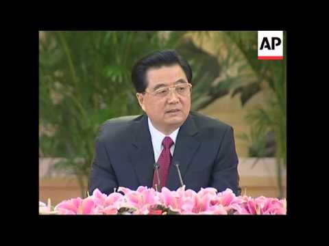 President Hu Jintao talks to media at Great Hall of the People