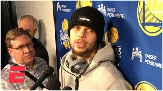 Steph Curry on his fall after Klay Thompson's 'earthquake dunk'  | NBA on ESPN