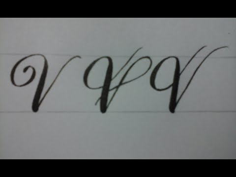 Calligraphy letter V with normal pen