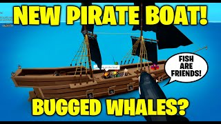 New Pirate Boat! Bugged Whales & Sharks? Fishing Simulator - Roblox