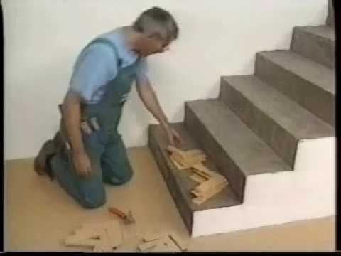 Обрамление лестницы пробкой