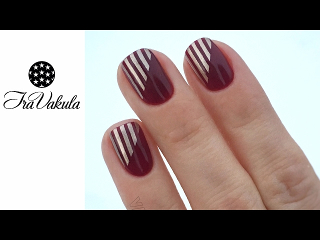 Silver stripes Stamping nails Nail Art #IraVakula