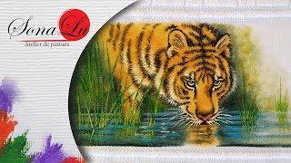 Pintura Tigre em Tecido