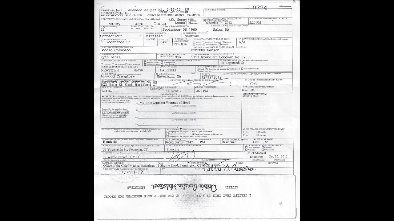 Sandy Hook Nancy Lanza Death Certificate Youtube