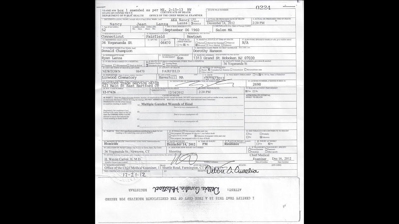 Sandy Hook Nancy Lanza Death Certificate - YouTube