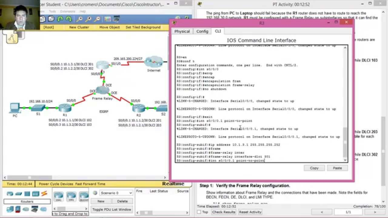 4.2.2.6 Packet Tracer - Configuring Frame Relay Point-to-Point ...